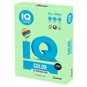 Бумага цветная IQ color, А4, 80 г/м2, 500 л., пастель, зеленая, MG28