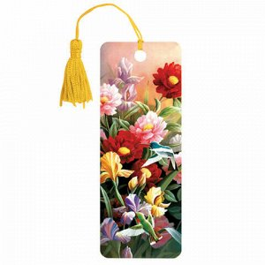 "Закладка для книг 3D, BRAUBERG, объемная, ""Цветы"", с декоративным шнурком-завязкой, 125777"
