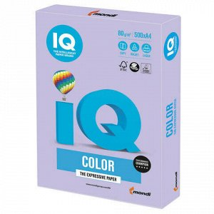 Бумага цветная IQ color А4, 80 г/м2, 500 л., тренд, бледно-лиловая, LA12