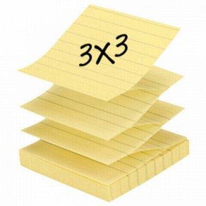 Блоки самоклеящийся (стикер) POST-IT (Z-Блоки) 76х76 мм, КОМПЛЕКТ 6 шт. по 100 л., линованный, желтый, R335