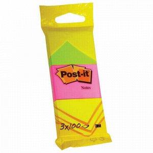 """Блоки самоклеящиеся (стикер) POST-IT ORIGINAL """"Неоновая радуга"""" 38х51 мм, КОМПЛЕКТ 3 шт. по 100 листов, ассорти, 6812"""