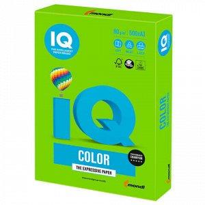 Бумага цветная IQ color БОЛЬШОЙ ФОРМАТ (297х420 мм), А3, 80 г/м, 500 л., интенсив, ярко-зеленая, MA42