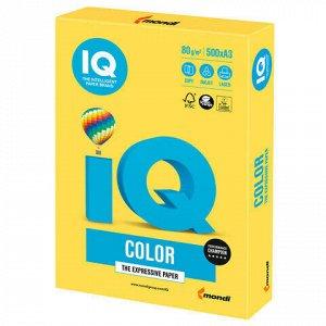Бумага цветная IQ color БОЛЬШОЙ ФОРМАТ (297х420 мм), А3, 80 г/м2, 500 л., интенсив канареечно-желтая, CY39