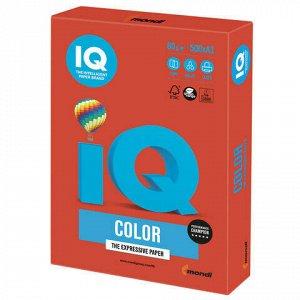 Бумага цветная IQ color БОЛЬШОЙ ФОРМАТ (297х420 мм), А3, 80 г/м2, 500 л., интенсив кораллово-красная, CO44