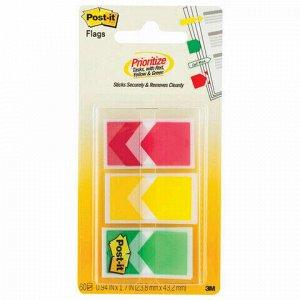 Закладки клейкие POST-IT стрелки, пластиковые, 24 мм, 3 цвета х 20 шт., 682-ARR-RYG