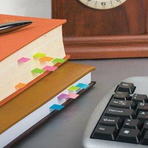 Закладки клейкие HOPAX НЕОНОВЫЕ, бумажные, 12х50 мм, 4 цвета х 100 листов, европодвес, 21613