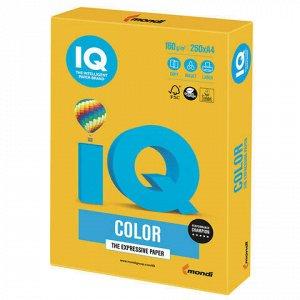 Бумага цветная IQ color, А4, 160 г/м2, 250 л., интенсив, солнечно-желтая, SY40