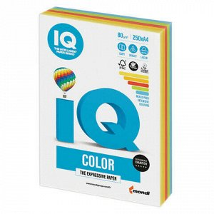 Бумага цветная IQ color, А4, 80 г/м2, 250 л., (5 цветов x 50 листов), микс интенсив, RB02