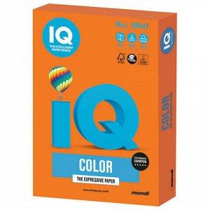 Бумага цветная IQ color БОЛЬШОЙ ФОРМАТ (297х420 мм), А3, 80 г/м2, 500 л., интенсив, оранжевая, OR43