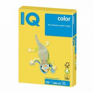 Бумага цветная IQ color БОЛЬШОЙ ФОРМАТ (297х420 мм), А3, 120 г/м2, 250 л., интенсив, канареечно-желтая, CY39