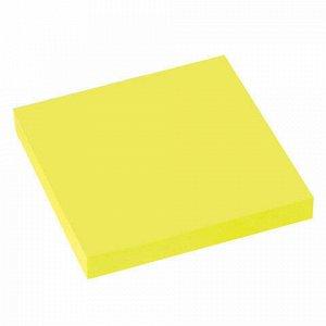 Блок самоклеящийся (стикеры), BRAUBERG, НЕОНОВЫЙ, 76х76 мм, 90 листов, желтый, 122702