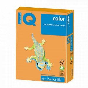 Бумага цветная IQ color БОЛЬШОЙ ФОРМАТ (297х420 мм), А3, 80 г/м, 500 л., неон, оранжевая, NEOOR