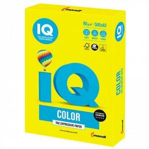 Бумага цветная IQ color БОЛЬШОЙ ФОРМАТ (297х420 мм), А3, 80 г/м2, 500 л., неон, желтая, NEOGB