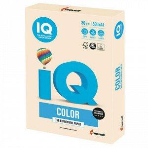 Бумага цветная IQ color, А4, 80 г/м2, 500 л., пастель, кремовая, CR20