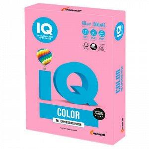 Бумага цветная IQ color БОЛЬШОЙ ФОРМАТ (297х420 мм), А3, 80 г/м2, 500 л., пастель, розовая, PI25
