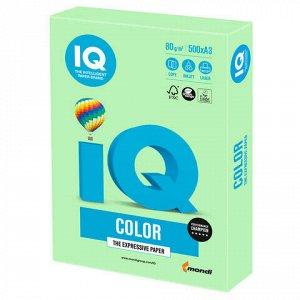Бумага цветная IQ color БОЛЬШОЙ ФОРМАТ (297х420 мм), А3, 80 г/м2, 500 л., пастель, зеленая, MG28