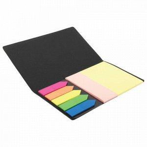 Блок (стикер) и закладки клейкие BRAUBERG, НЕОНОВЫЕ, набор 51х75 мм и 25х75 мм+закладки 12х48 мм, 20 листов, 122730