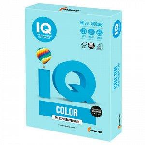 Бумага цветная IQ color БОЛЬШОЙ ФОРМАТ (297х420 мм), А3, 80 г/м2, 500 л., пастель, голубая, MB30