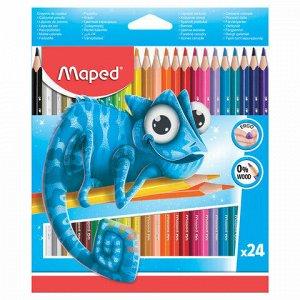 """Карандаши цветные MAPED (Франция) """"Pulse"""", 24 цвета, пластиковые, трехгранные, заточенные, европодвес, 862254"""