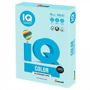Бумага цветная IQ color БОЛЬШОЙ ФОРМАТ (297х420 мм), А3, 80 г/м2, 500 л., пастель, светло-голубая, BL29