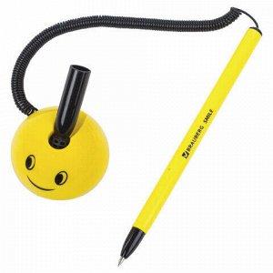"""Ручка шариковая настольная BRAUBERG """"SMILE"""", СИНЯЯ, корпус желтый, узел 0,7 мм, линия письма 0,35 мм, 143376"""