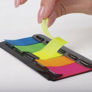 Закладки клейкие BRAUBERG НЕОНОВЫЕ пластиковые, 48х20 мм, 5 цветов х 20 листов, в диспенсере, 122733