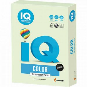 Бумага цветная IQ color, А4, 160 г/м2, 250 л., пастель, светло-зеленая, GN27