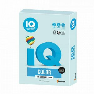 Бумага цветная IQ color, А4, 160 г/м2, 250 л., пастель, светло-голубая, BL29