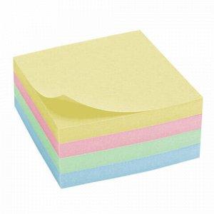 Блок самоклеящийся (стикеры), BRAUBERG, ПАСТЕЛЬНЫЙ, 76х76 мм, 400 листов, 4 цвета, 122856