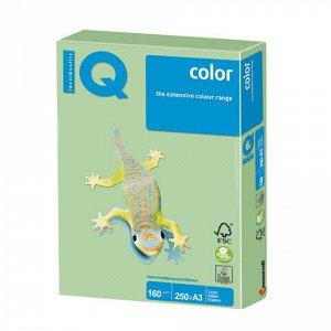 Бумага цветная IQ color БОЛЬШОЙ ФОРМАТ (297х420 мм), А3, 160 г/м2, 250 л., пастель, зеленая, MG28