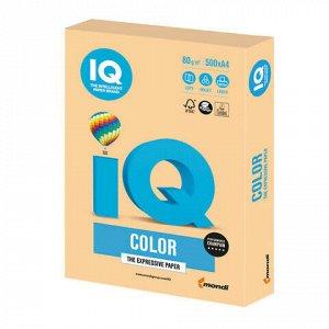 Бумага цветная IQ color, А4, 80 г/м2, 500 л., тренд, золотистая, GO22