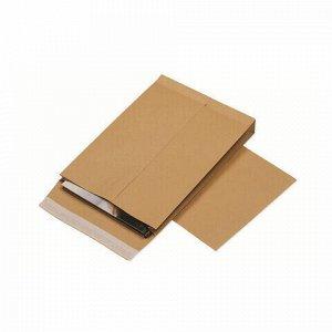 Конверт-пакеты С4 объемные (229х324х40 мм), до 250 листов, крафт-бумага, отрывная полоса, КОМПЛЕКТ 25 шт., 381227.25