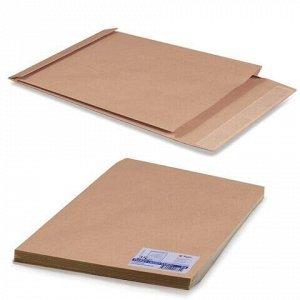 Конверт-пакеты Е4+ объемный (300х400х40 мм) до 300 листов, крафт-бумага, отрывная полоса, КОМПЛЕКТ 25 шт., 302127.25