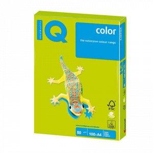 Бумага цветная IQ color, А4, 80 г/м2, 100 л., неон, зеленая, NEOGN