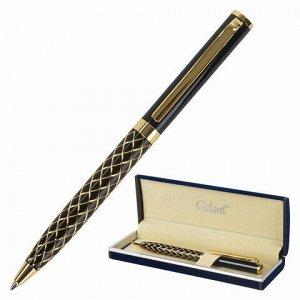"""Ручка подарочная шариковая GALANT """"Klondike"""", корпус черный с золотистым, золотистые детали, пишущий узел 0,7 мм, синяя, 141357"""