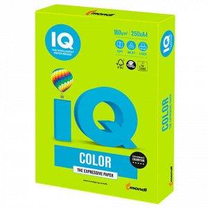 Бумага цветная IQ color, А4, 160 г/м2, 250 л., интенсив, зеленая липа, LG46