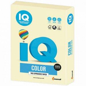 Бумага цветная IQ color, А4, 160 г/м2, 250 л., пастель, ванильная, BE66