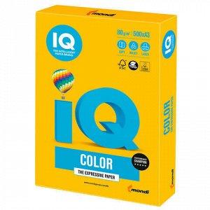 Бумага цветная IQ color БОЛЬШОЙ ФОРМАТ (297х420 мм), А3, 80 г/м, 500 л., интенсив, солнечно-желтая, SY40