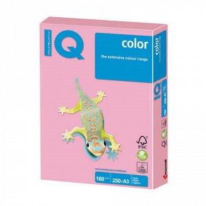Бумага цветная IQ color БОЛЬШОЙ ФОРМАТ (297х420 мм), А3, 160 г/м2, 250 л., пастель, розовая, PI25