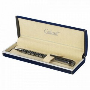 """Ручка подарочная шариковая GALANT """"Locarno"""", корпус серебристый с черным, хромированные детали, пишущий узел 0,7 мм, синяя, 141667"""