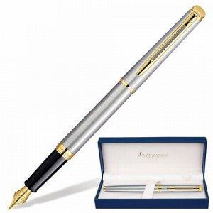 """Ручка подарочная перьевая WATERMAN """"Hemisphere Stainless Steel GT"""", серебристый корпус, позолоченные детали, синяя, S0920310"""