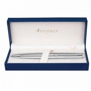 "Ручка подарочная шариковая WATERMAN ""Hemisphere Stainless Steel CT"", серебристый корпус, палладиевое покрытие, синяя, S0920470"
