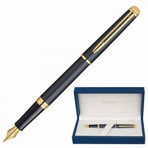 """Ручка подарочная перьевая WATERMAN """"Hemisphere Matt Black GT"""", черный матовый лак, позолоченные детали, синяя, S0920710"""
