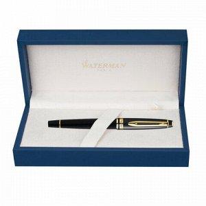 """Ручка подарочная перьевая WATERMAN """"Expert 3 Black Lacquer GT"""", черный лак, позолоченные детали, синяя, S0951640"""