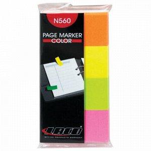 Закладки самоклеящиеся LACO (ЛАКО, Германия) НЕОН бумажные, 20*40 мм, 4 цвета * 50 листов, N 560
