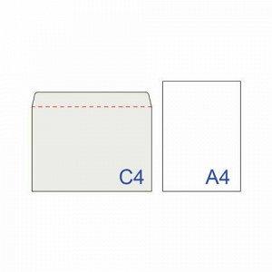 Конверты С4 (229х324 мм), отрывная лента, 100 г/м2, КОМПЛЕКТ 500 шт., внутренняя запечатка, С4НКРс(серая)