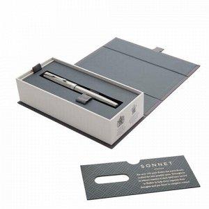 "Ручка перьевая PARKER ""Sonnet Core Core Stainless Steel CT"", корпус серебристый, палладиевые детали, черная, 1931509"