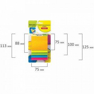Блоки самоклеящиеся (стикеры) BRAUBERG, НЕОНОВЫЕ, 75х75, 75х88, 75х100, 75х113, 75х125 мм, 5 цветов х 30 листов, 127178
