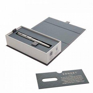 "Ручка-роллер PARKER ""Sonnet Core Stainless Steel CT"", корпус серебристый, палладиевые детали, черная, 1931511"
