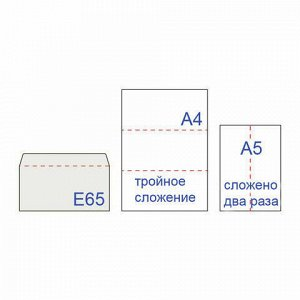 Конверты Е65 (110х220 мм) ПРАВОЕ ОКНО, отрывная лента, 80 г/м2, КОМПЛЕКТ 100 шт., внутренняя запечатка, 125638.100